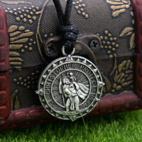 Saint St Christopher Medal Protect Us Heavy Compass Style Large Pendant Necklace