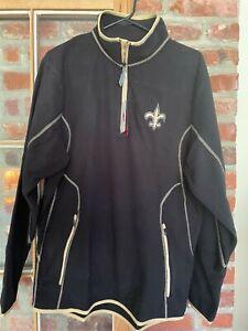 NWT New Orleans Saints Antigua Quarter-Zip Pullover Jacket - Black/Gold
