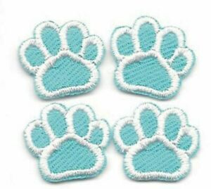 Lot of 4 Turquoise White Dog Animal Paw Print Embroidery Patch