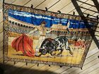 Vintage Italian Velvety Woven Wall Hanging Bullfighter Matador 4x6 Feet