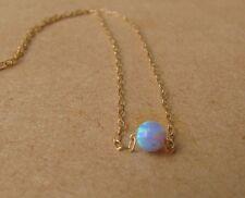 gold necklace, opal ball necklace, opal  necklace, tiny dot necklace, blue opal