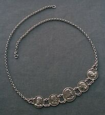 RARE VINTAGE 925 STERLING SILVER PRESIDENTS FOCAL NECKLACE 22""