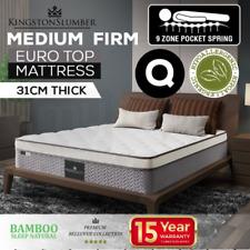 Queen Mattress Bedding Memory Foam Medium/Firm 9 zone pocket Euro Top 12 layers