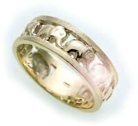 Unisex Ring Elefant echt Gold 333 8kt teilmattiert Qualität Germany Gelbgold