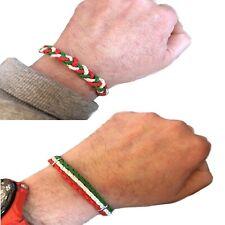 2x Bracciale in pelle italia da uomo donna braccialetto regolabile tricolore