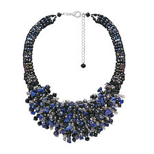Midnight Chic Black and Blue Pearls Stones and Beads Statement Necklace