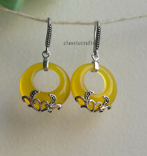 Genuine natural yellow Chalcedony circle in 925 sterling silver dangle earrings