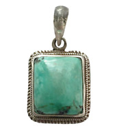 Sterling Silver Ethnic Asian Vintage Style Handmade Turquoise Stone Pendant Gift