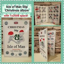 ISLE OF MAN 50p CHRISTMAS COIN ALBUM 1980-2020 -  with Mintage! JB Album