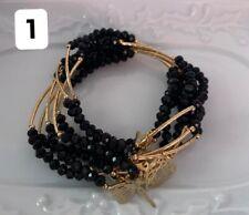 Semanario Cristal Cortado Artesanal Negro Chapa Oro 7 Pulseras Sencillo
