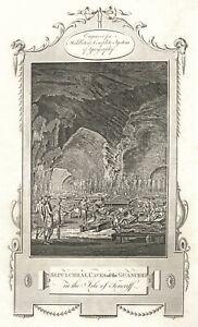 Guanchen-Höhle auf Teneriffa, Spanien Original-Kupferstich von ca. 1780