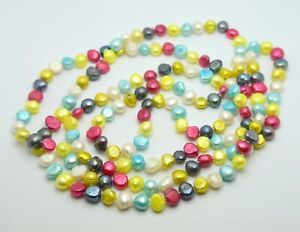 EXCLUSIVE TAHITIAN PEARLS MULTI COLORED PEARL BEADS VERY LONG NECKLACE 136 CM