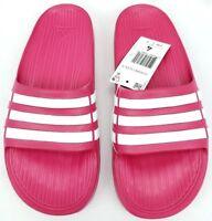 Adidas Duramo Slides Girls Sports Sandals Pink White Flip Flops Kids New