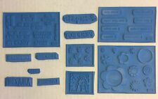 TAC THE ANGEL COMPANY Blue RUBBER STAMPS Words Flowers LOT 2336 2319 2321 NEW