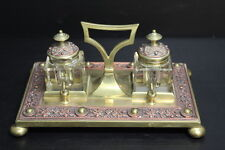 "Vintage Bronze / Brass & Copper Inkwell w/ Intricate Design ~ 9"" x 6"" x 4"""