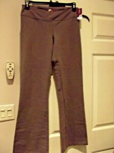 Zinni by Garnet Hill Yoga Pants Size L Gray Flare Stretch Full Length Low Rise