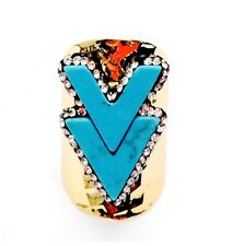 Boho Chevron Arrow Howlite Turquoise Ring Pave Crystal Native Inspired Gold Band