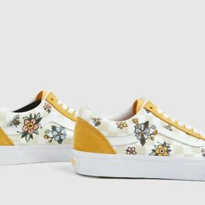 NEW Vans Old Skool Cottage Checkerboard Skate Shoe Yellow Floral Womens