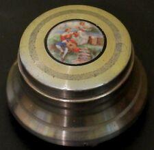 ~Antique Art Deco Powder Jar Music Box 1920's Vintage Colonial Courting Couple~