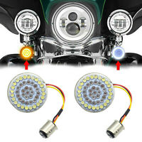 2Pcs 1157 LED Bullet Red Amber Stop Brake Turn Signal Inserts Lights for Harley