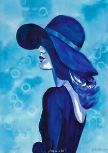 original painting A3 78PvO art samovar Watercolor woman in hat grisaille