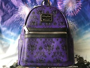 Disney Parks Disney World Loungefly Purple Mini Haunted Mansion Backpack
