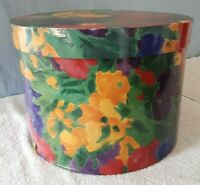 """Vintage ~ 1970's Hand Painted Multi Colored Round Hat Box ~ 10"""" Tall x 14"""" Diam"""