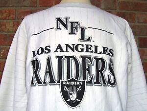VINTAGE 90's LOS ANGELES RAIDERS NFL TRENCH PINSTRIPE CREWNECK SWEATSHIRT M RARE