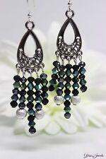 Glass Jewels Silber Ohrringe Ohrhänger Party Statement Chandelier Boho #L075