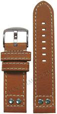 20mm XXL Panatime Lt Brown Oiled Leather Pilot Watch Strap w/Rivets 20x20