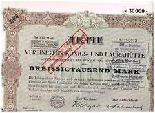 Vereinigte Königs- und Laurahütte, Berlin 1923, 30.000 Mark, ungelocht, selten