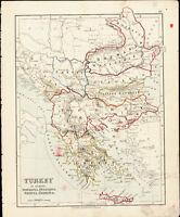 1890 Boulton Antique Map of Turkey in Europe Romania, Bulgaria, Serbia Greece &c