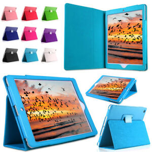 """Tempered Glass + Leather Flip Stand Case For Apple 6th Generation iPad 9.7"""" 2018"""