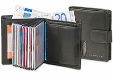 Platino Compact Wallet With Many Card Slots IN Fine Leather IN Black
