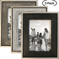 "5x7 Rustic Frames (3-Pack) - Distressed Farmhouse Industrial Frames - 5x7"""