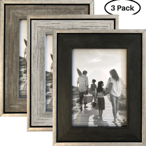 """4x6 Rustic Picture Frame (3-Pack) - Distressed Industrial - 4x6"""" Photo"""