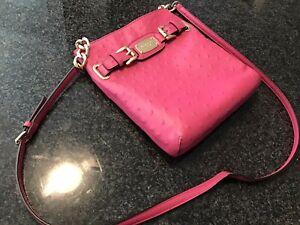 MICHAEL KORS Pink Leather Croc Print Crossbody Bag