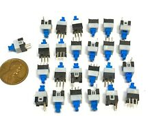 25x Push Button Latching Tactile Switch 7x7mm Blue Button 3 Pin Micro Onoff B10
