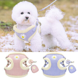 Small Dog Step-in Harness and Leash with Treat Bag Soft Mesh Pet Cat Vest Jacket