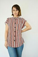 New Womens Ex Peacocks Red,Black & White Stripe Button Up Shirt Blouse Size 8-20