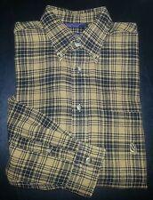 658c Yellow Black Plaid M NAUTICA Yellow Logo Casual Dress Shirt!
