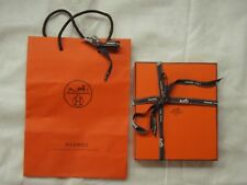 Hermes box for jewelry with ribbon and shopping bag, empty, rectangle, padded