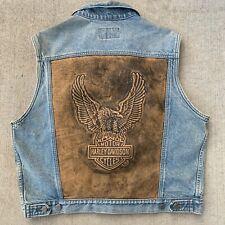 Harley Davidson Rare Vintage Leather Embossed Denim Jean Grunge Biker Vest Large