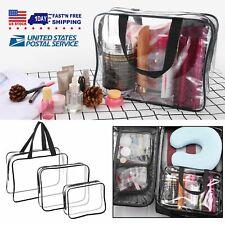 3Pcs Clear Travel Toiletry Bags Waterproof Cosmetic Makeup Handbags Transparent