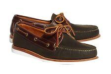 Rancourt y de Co. para Brook Brothers Lona Encerada & Zapatos Bote Piel Talla 10