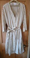 Marina Rinaldi Women Long Linen Striped Beige Shirt Size MR 23 UK 18-20