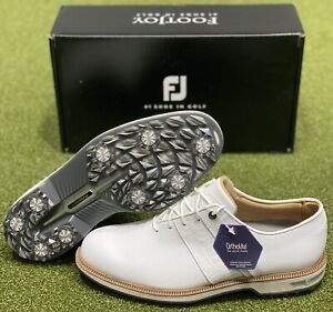 FootJoy DryJoys Premiere Series Packard Golf Shoes 53908 White Size 8 NEW #85595