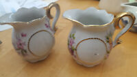 """Lot of 2 Antique Creamer Small Pitcher Flowers Made in Japan 2 1/2"""" tall FREE SH"""