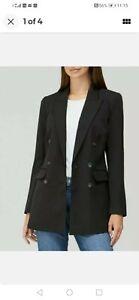 V By VeryThe Longline Double Breasted Blazer - Black size UK10. (S2)