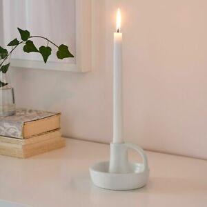 GODTAGBAR Candlestick Candle Holder, Stoneware White 8cm.